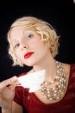 Mooie Snobistische dame die een kop thee houden royalty-vrije stock afbeelding