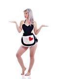 Mooie Speld op Model dat als sexy huisvrouw wordt gesteld Stock Foto's
