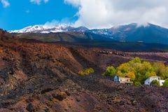 Mooie sporen van de uitbarsting van Etna ` s Royalty-vrije Stock Foto's