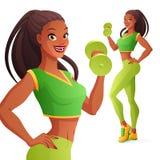 Mooie sportieve Afrikaanse vrouw die met domoor uitoefenen Geïsoleerdee vectorillustratie Royalty-vrije Stock Afbeeldingen