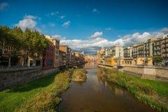 Mooie stad Girona Stock Afbeeldingen