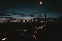 Mooie stad van Manhattan bij nacht stock foto
