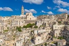 Mooie stad van Matera, Unesco-erfenis, het gebied van Basilicata, Italië stock afbeelding