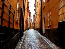 Mooie steeg in Stockholm Stock Foto
