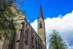 Mooie steen churche in Schwarzach in Vorarlberg, Oostenrijk stock foto