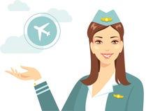 Mooie stewardess met luchtvaartlijn in vlakke stijl vector illustratie