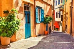 Mooie straat in Chania, Kreta, Griekenland royalty-vrije stock afbeeldingen