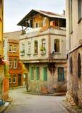 Mooie straat van Istanboel Turkije, de architectuurconcept van het toeristenbezoek Royalty-vrije Stock Afbeelding
