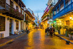 Mooie straten in Cartagena, Colombia Stock Afbeeldingen