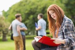 Mooie student die buiten op campus bestuderen Royalty-vrije Stock Fotografie