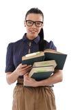 Mooie student met boeken het glimlachen Stock Afbeeldingen