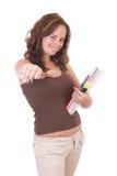 Mooie student met duim-omhoog Stock Fotografie