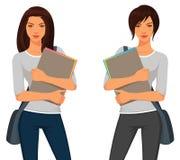 Mooie studentenmeisjes in vrijetijdskleding Stock Afbeelding
