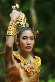 Mooie Thaise dame in Thaise traditionele dramakleding Royalty-vrije Stock Foto