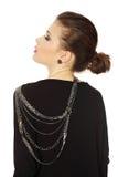 Mooie tienerbrunette met jewelery royalty-vrije stock afbeelding