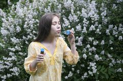 Mooie tienermeisje en zeepbels Stock Fotografie