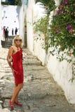 Mooie toerist in medina stock foto's