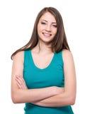 Mooie toothy glimlachende vrouw Royalty-vrije Stock Afbeeldingen