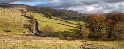 Mooie trillende Herfst Engelse countrysid van het panoramalandschap Royalty-vrije Stock Fotografie