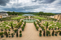 Mooie tuin in een Beroemd paleis Versailles, Frankrijk Stock Foto