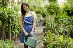 Mooie tuinman het water geven installaties stock foto