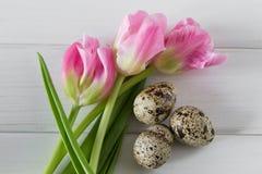 Mooie tulpen met kwartelseieren op lichte houten achtergrond De lente en Pasen-vakantieconcept Royalty-vrije Stock Foto's