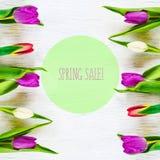 Mooie tulpen op witte boomachtergrond De verkoop van de conceptenlente Stock Foto