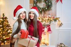 Mooie tweelingen in Kerstmisuitrustingen Stock Fotografie