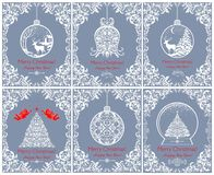 Mooie uitstekende blauwe de groetkaarten van de Kerstmispastelkleur met verwijderde bloemenkerstmisboom, klok, bal, engelen, hert royalty-vrije illustratie