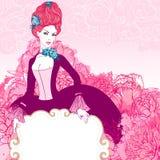 Mooie uitstekende jonge dame die leeg frame houdt royalty-vrije illustratie
