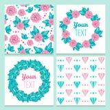 Mooie uitstekende romantische bloemenreeks met rozen en diamanten Royalty-vrije Stock Afbeelding