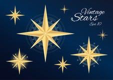 Mooie uitstekende sterren op donkerblauwe achtergrond Stock Afbeelding