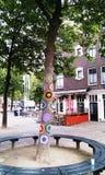 Mooie unieke kleurrijke gehaakte met de hand gemaakt op de boom, Amsterdam, Holland, Nederland royalty-vrije stock fotografie