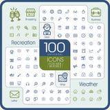 Mooie 100 universele geplaatste pictogrammen Royalty-vrije Stock Fotografie