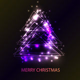 Mooie vakantiekaart met Kerstmisboom van de technostijl Stock Foto's