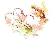 Mooie vectorharten met rozen Stock Afbeeldingen