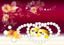 Mooie vectorhuwelijkskaart met ringen Royalty-vrije Stock Afbeelding