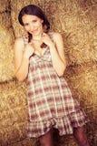 Mooie veedrijfster in hooi Royalty-vrije Stock Foto's