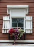 Mooie vensterbank met bloempot Royalty-vrije Stock Foto