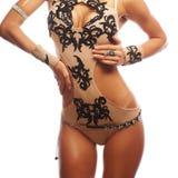 Mooie verleidelijke jonge vrouw in sexy lingerie Stock Foto