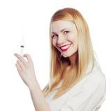 Mooie verpleegster met spuit Royalty-vrije Stock Fotografie