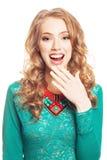 Mooie verraste blonde vrouw Stock Foto's