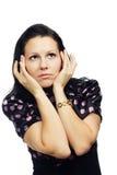 Mooie verraste vrouw omhoog het kijken Royalty-vrije Stock Fotografie