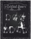 Mooie vijf koppen van bier stock illustratie