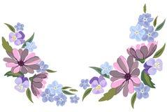 Mooie viooltje en nots bloemenillustratie op witte backgrou Royalty-vrije Stock Afbeeldingen