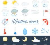 Mooie vlakke geplaatste weerpictogrammen 22 vectorpictogrammen voor verschillende soorten weer Stock Foto