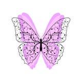Mooie vlinder met bloemenpatroon stock illustratie
