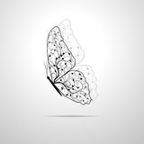 Mooie vlinder met bloemenpatroon royalty-vrije illustratie