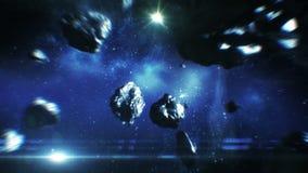 Mooie Vlucht door Stervormige Riem in Open plek 3d animatie van asteroïdenbotsingen HD 1080 stock illustratie