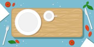 Mooie voedselachtergrond met houten scherpe Raad, plaat en mok, kersentomaten, zout kristallen en Bestek Vlakke vector vector illustratie